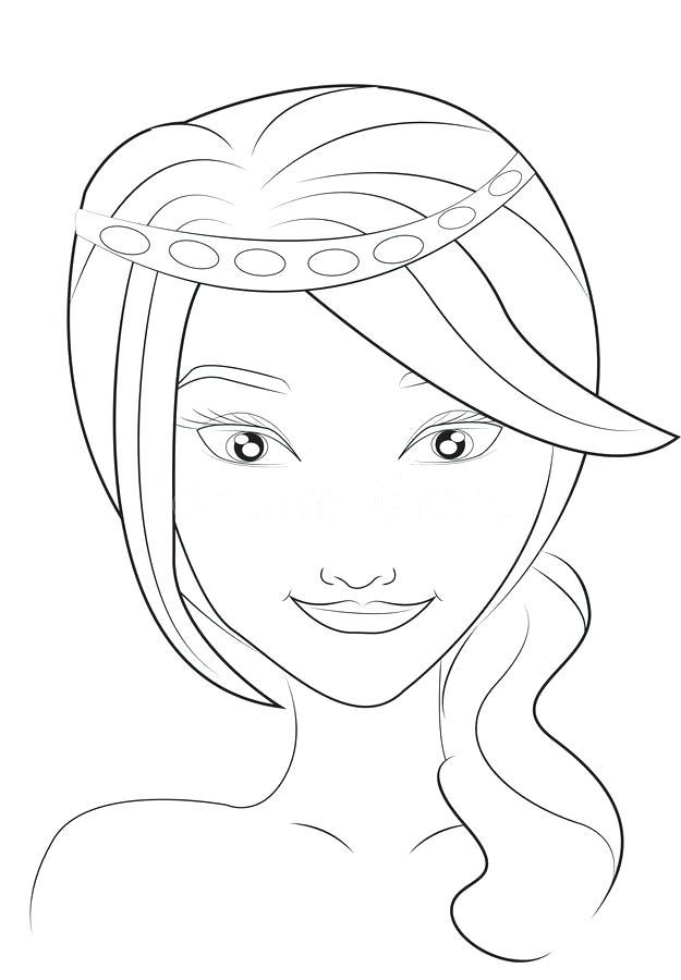 625x900 Girls Face Coloring Page Stock Illustration Illustration