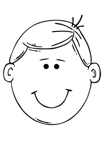 354x500 Boy Face Coloring Pages For Kids On Colors