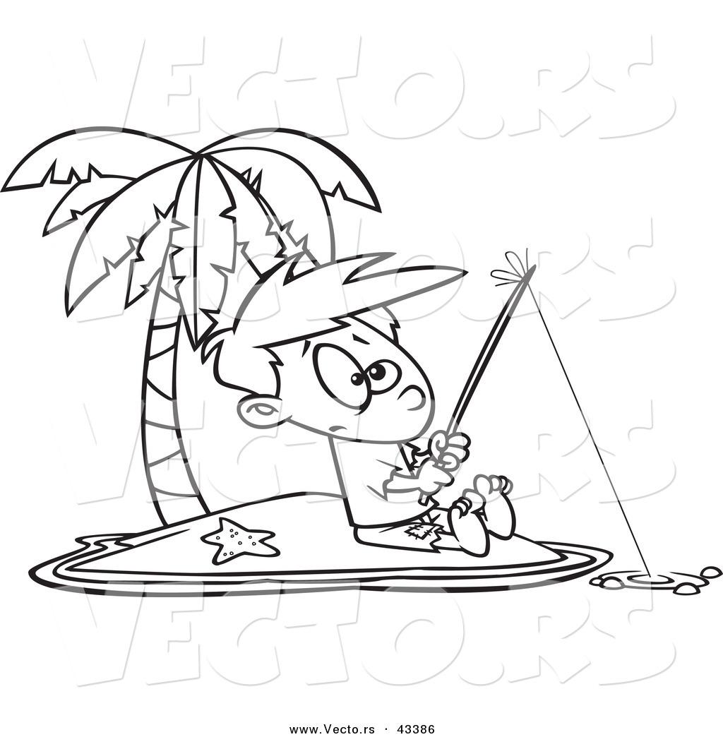 1024x1044 Vector Of A Cartoon Boy Fishing