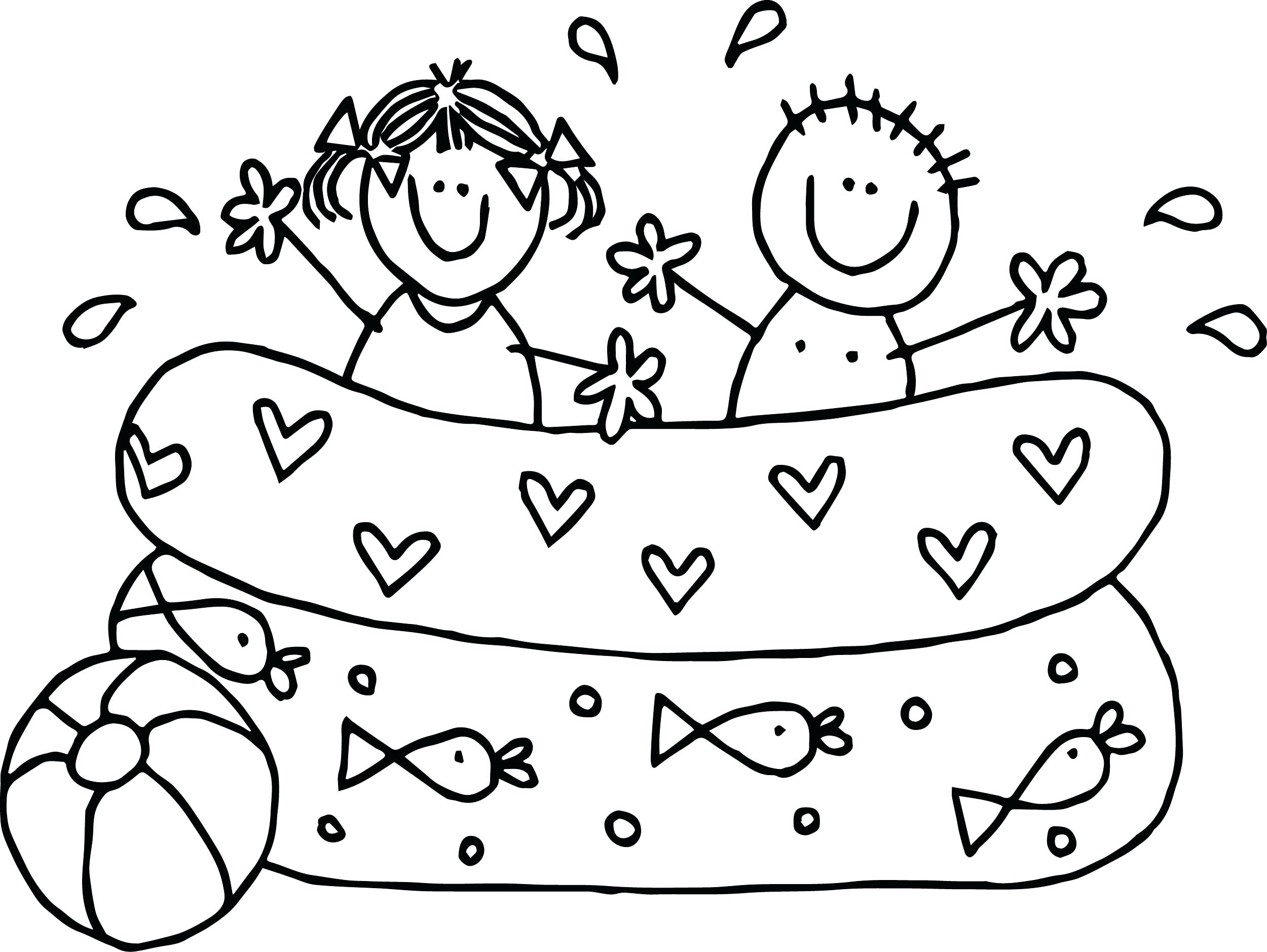 2500x1878 Coloring Pages Thanksgiving Food Summer Kids Boy Girl Playing Pool