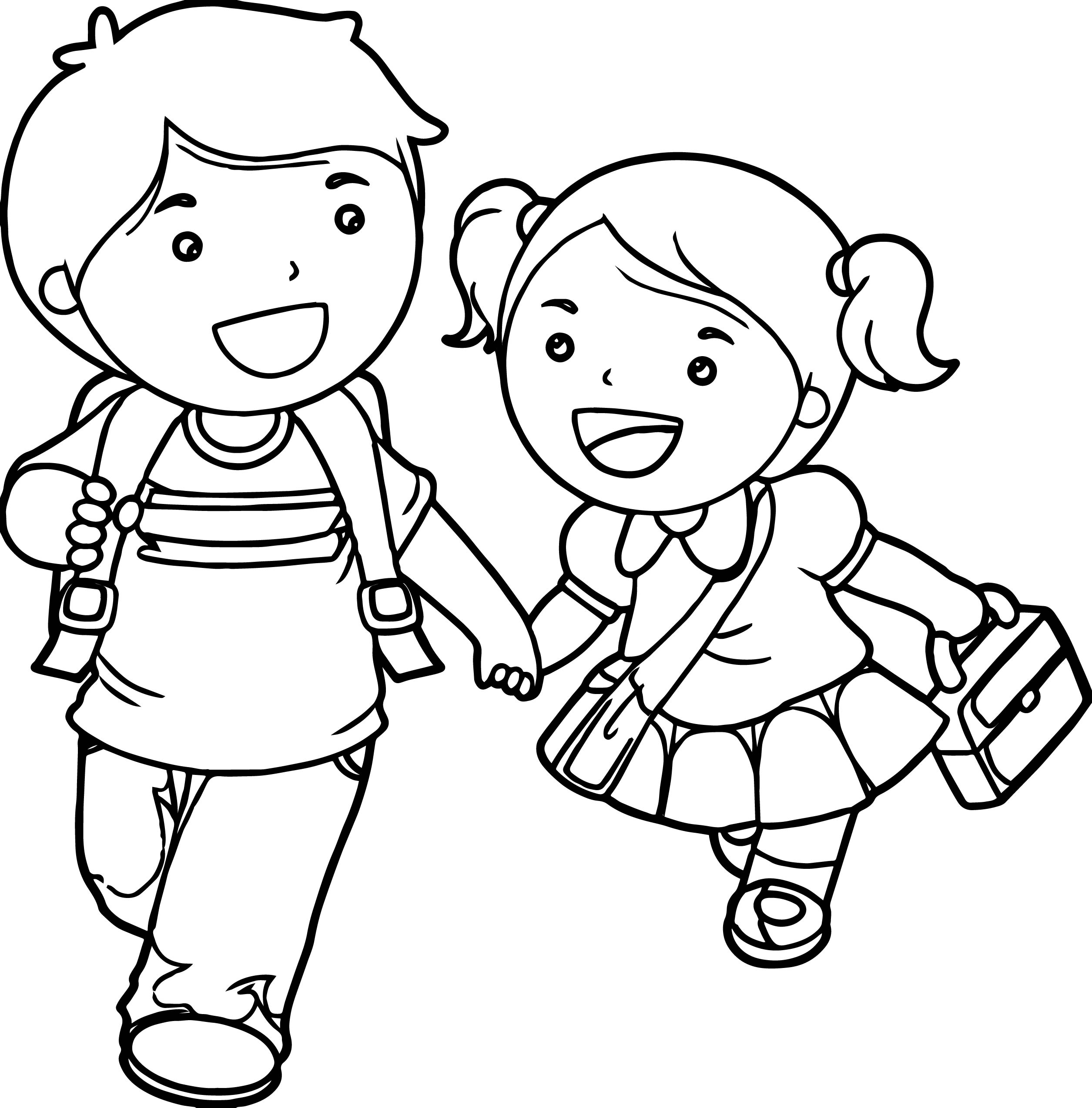 2510x2548 Excellent Little Boy And Girl Coloring Pages P