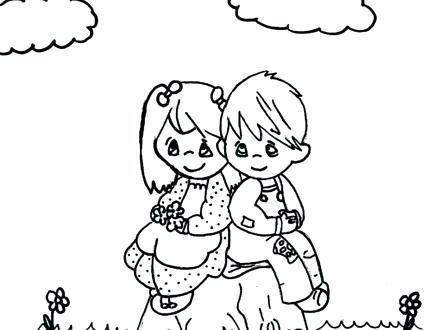 440x330 Happy Boy And Girl Coloring Page Stock Illustration Illustration