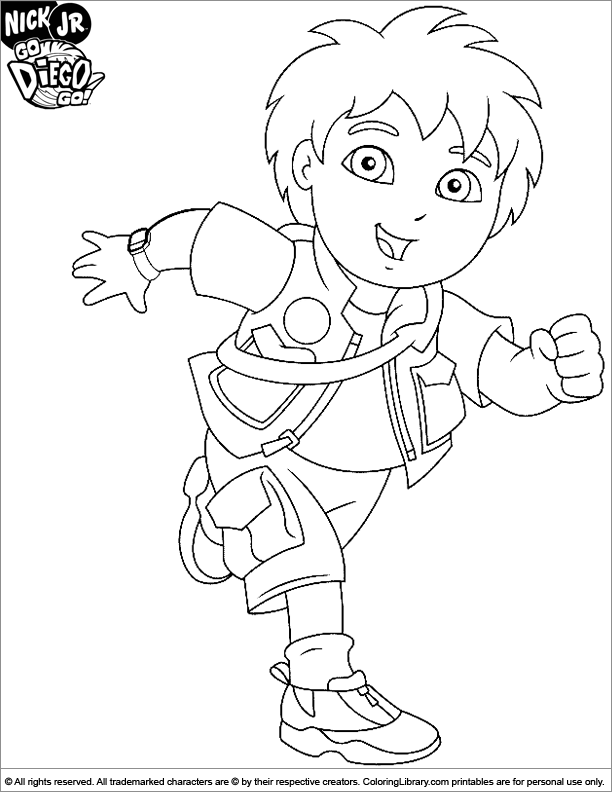 612x792 Go Diego Go Coloring Sheet Diego Having Fun Running Coloring