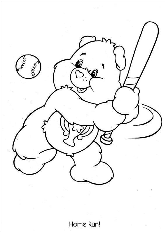 569x796 Care Bears Coloring Pages To Print Care Bears Baseball Home Run