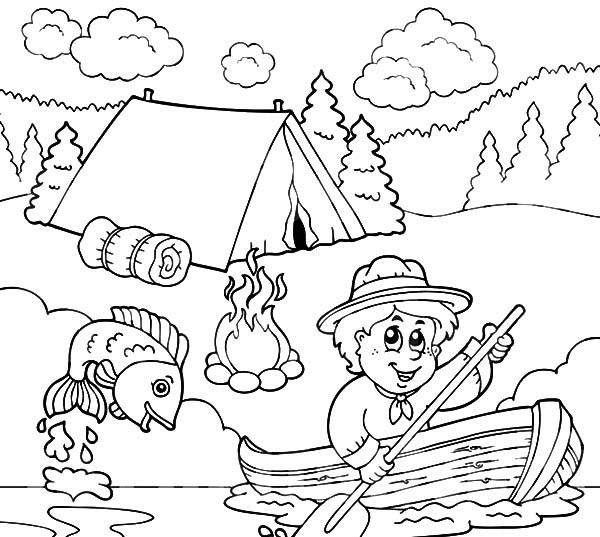 600x537 Boy Scouts Going Fishing Coloring Pages Best Place To Color