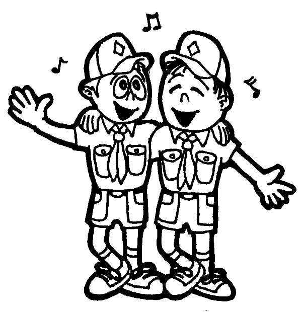 600x620 Boy Scouts Singing Together Coloring Pages Best Place To Color