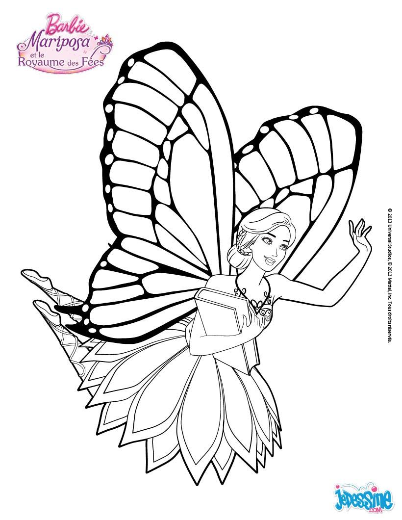 820x1060 Un Joli Dessin A Colorier De Barbie Mariposa En Plein Vol Avec Le
