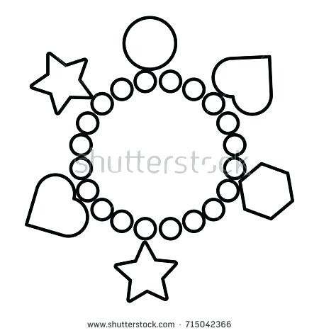 450x470 Charming Milkshake Coloring Pages Charm Bracelet Icon Outline