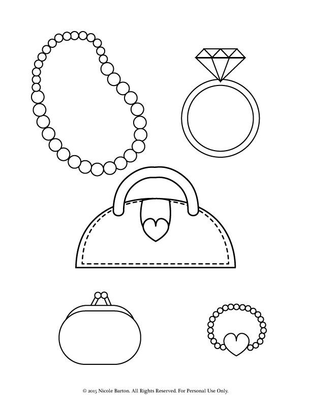 612x792 Free Printable Coloring Pages For Girls With A Stylish Purse, Coin
