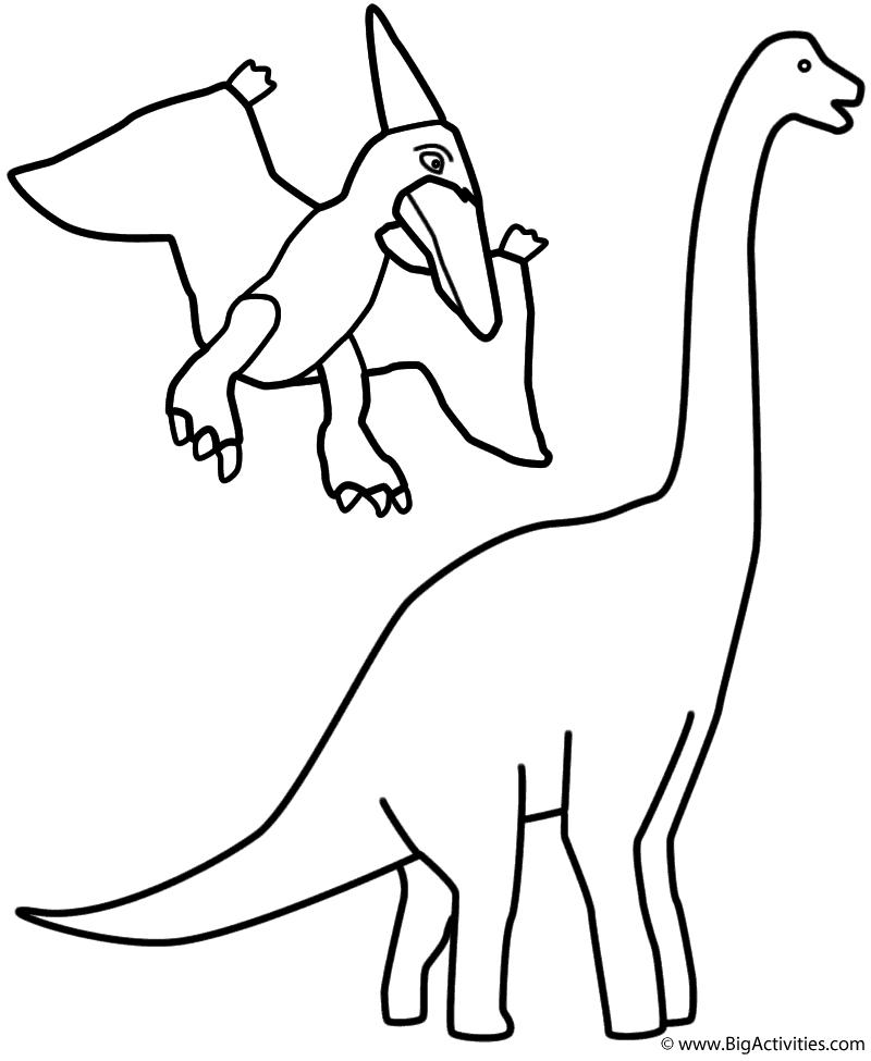 800x975 Pterodactyl And Brachiosaurus
