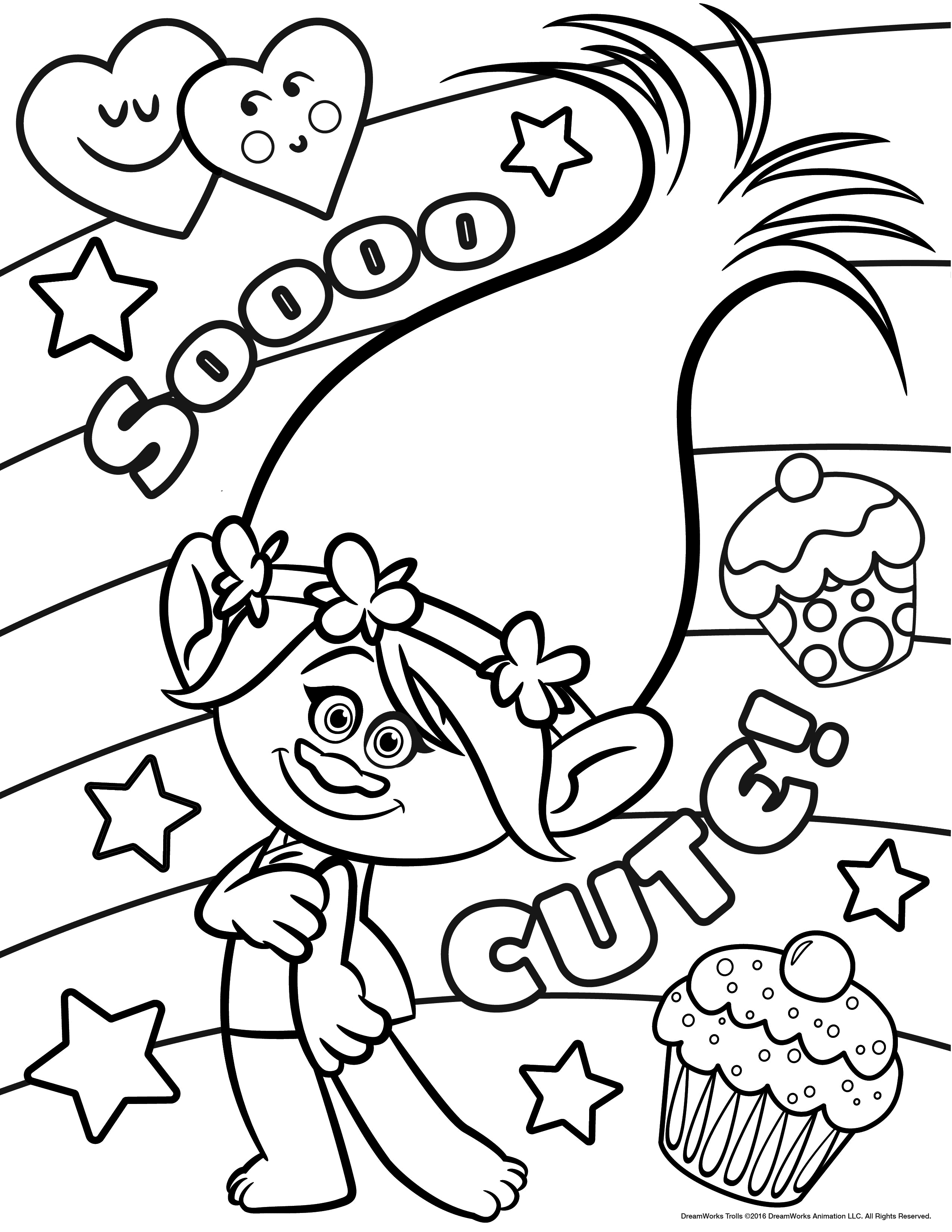 2550x3300 Sturdy Poppy Colouring Page Branch From Trolls