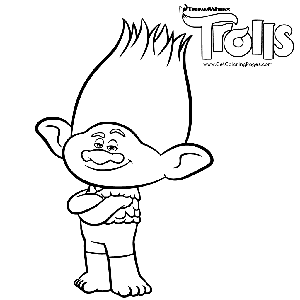 1024x1024 Branch Trolls Colouring Page