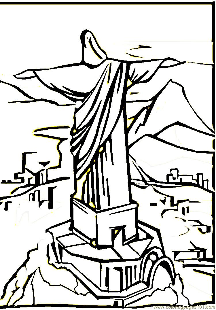 750x1076 Christ The Remeeder In Rio De Janeiro Coloring Page
