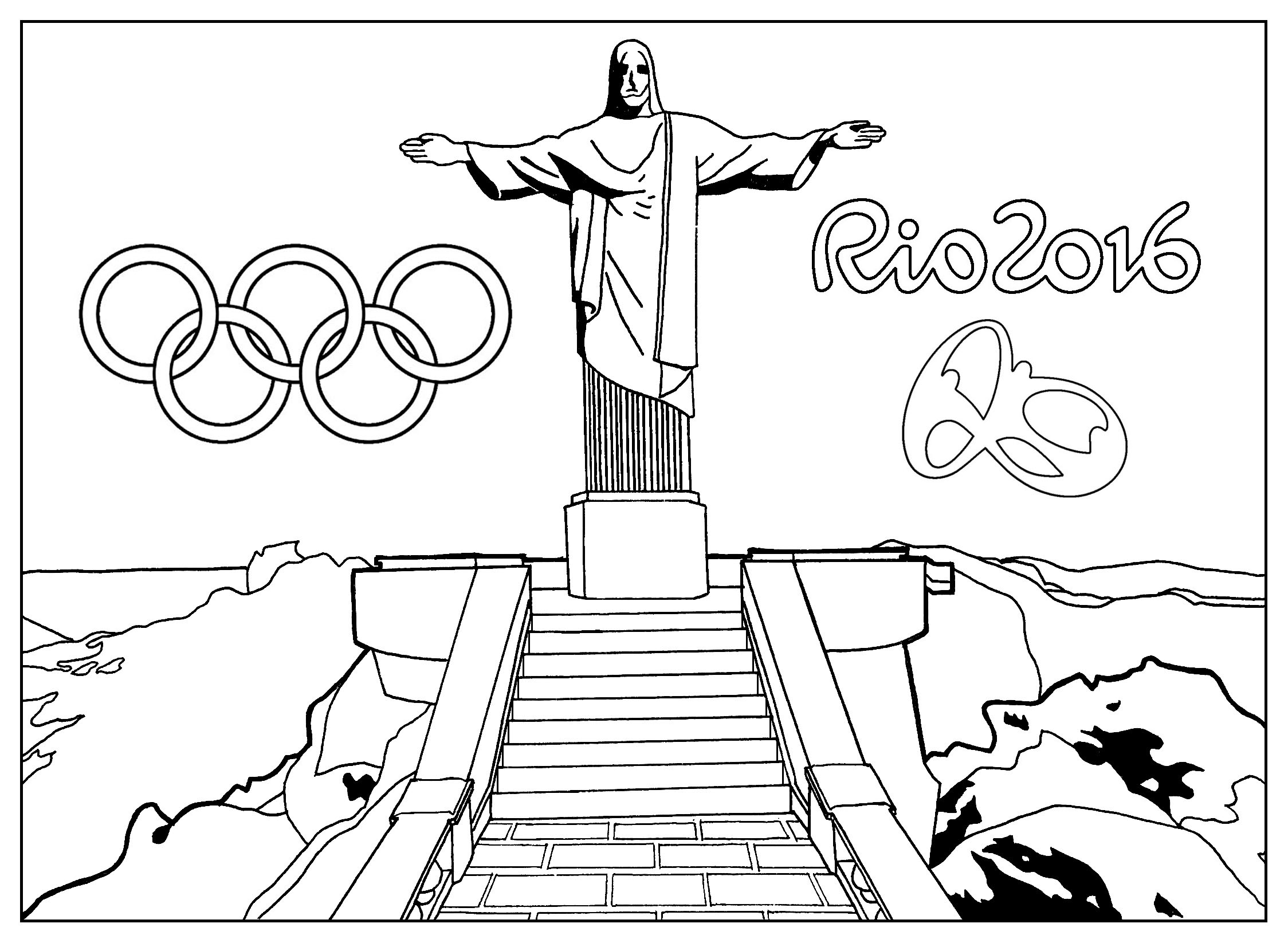2248x1646 Rio Coloring Page Christ The Redeemer Statue
