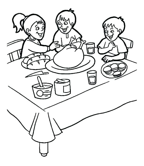 600x692 Breakfast Coloring Pages Page Three Kids On Thanks Giving Healthy