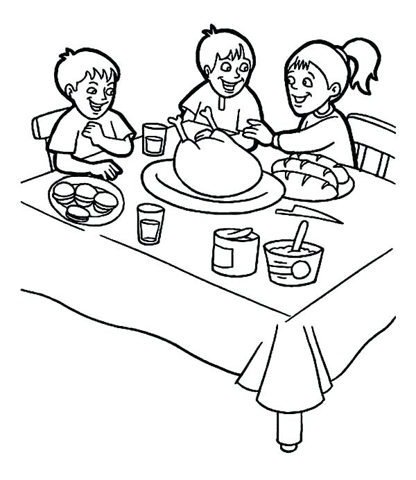 600x692 Breakfast Coloring Page Thanksgiving Day Breakfast With Family