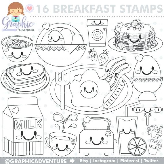 570x570 Breakfast Coloring Pages Breakfast Stamp Commercial Use Stamp Tal