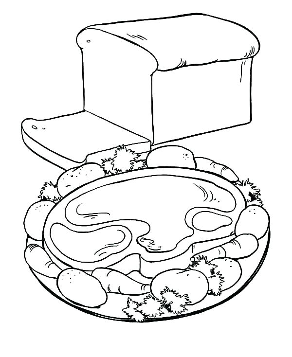 600x734 Breakfast Coloring Pages Breakfast Coloring Page Bread Healthy
