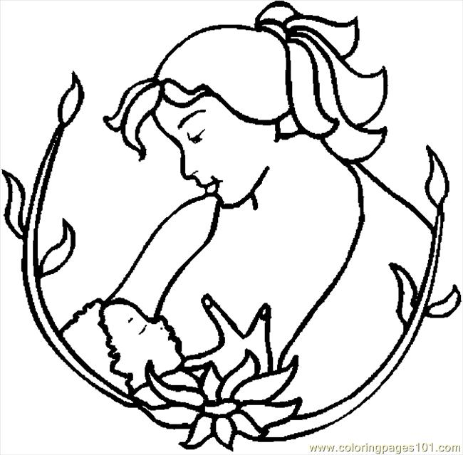 650x639 Mother Nursing Coloring Page