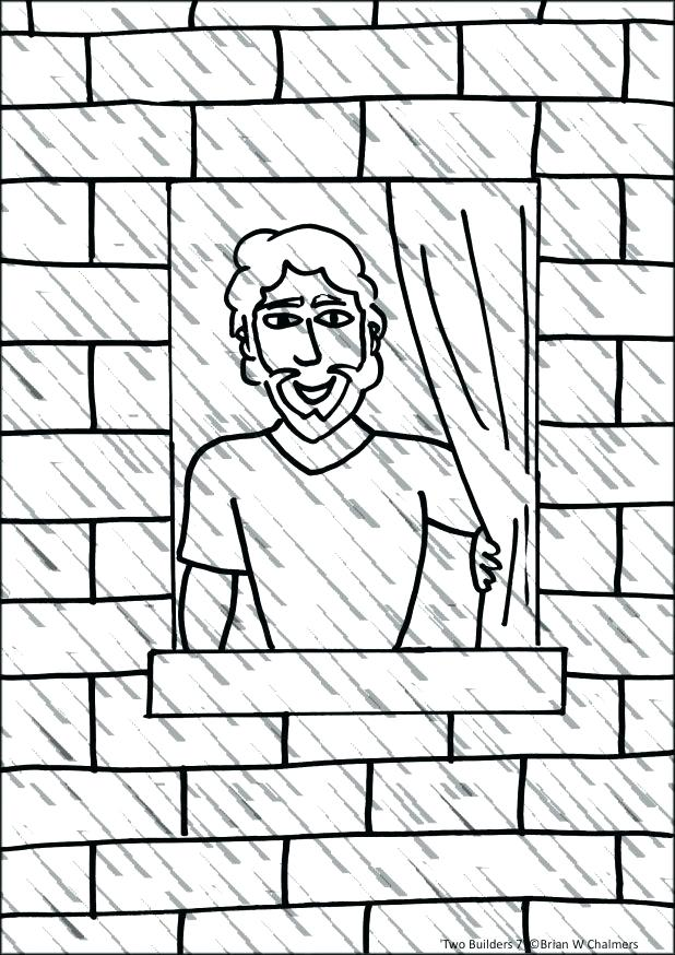 618x874 Brick Coloring Page Two Builders Flip Chart Free Brick Wall