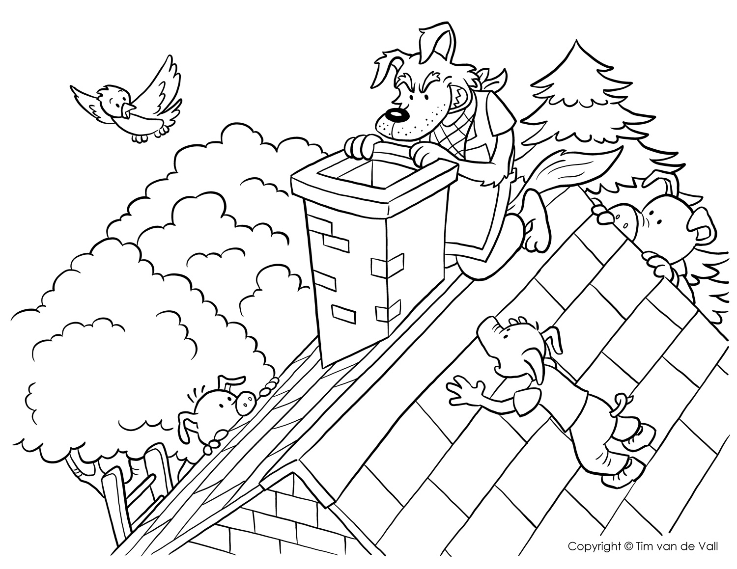 1500x1159 Big Bad Wolf At Chimney Coloring Page Pages