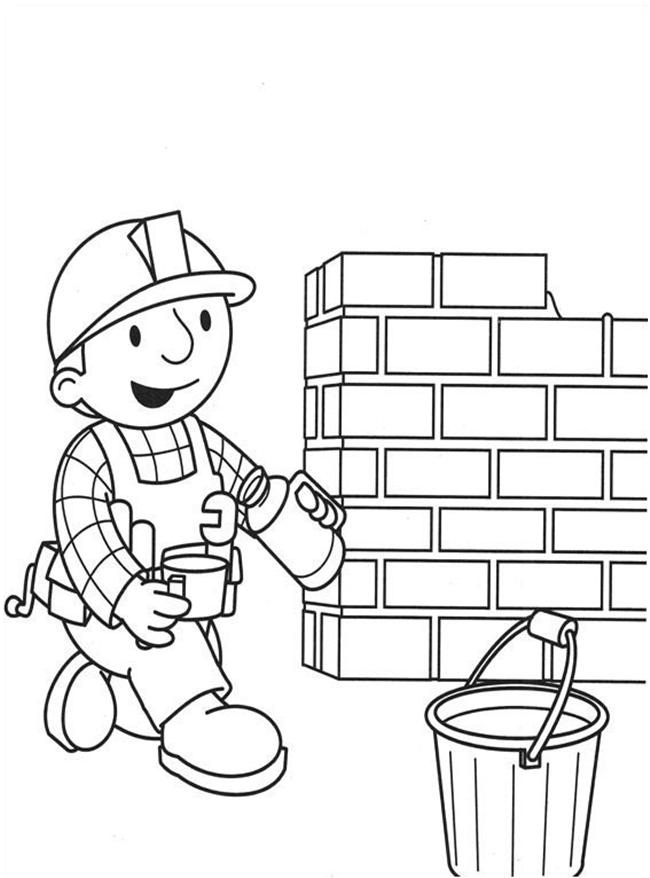 650x878 Builder Bob Drink Coffee Near The Brick Wall Coloring Page