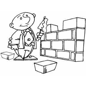 300x300 Businessman Brick Layer Coloring Page