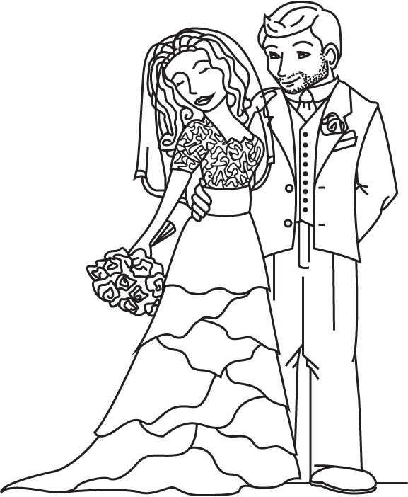 577x702 Bride And Groom Coloring Page