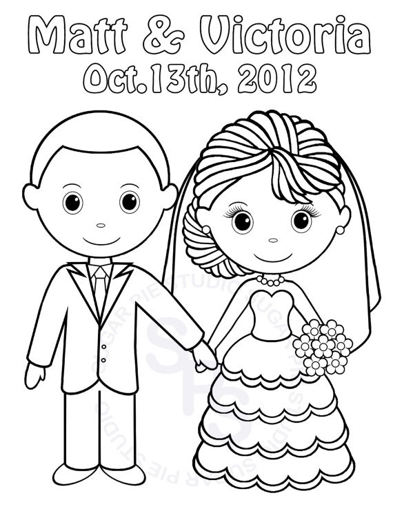 570x738 Bride And Groom Coloring Pages Luxury Personalized Printable Bride