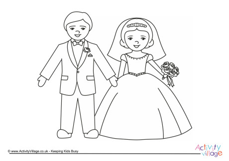 460x325 Bride And Groom Colouring Page