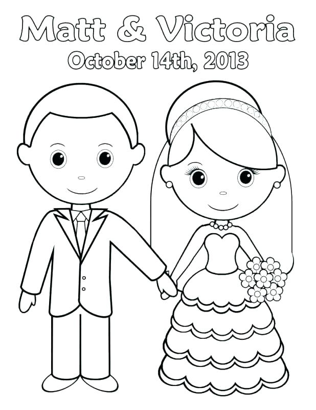 618x800 Bride And Groom Coloring Page