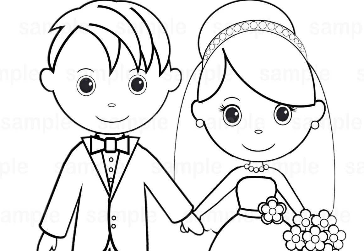 1159x800 Kids Bride And Groom Coloring Pages Free Great Wedding Easy