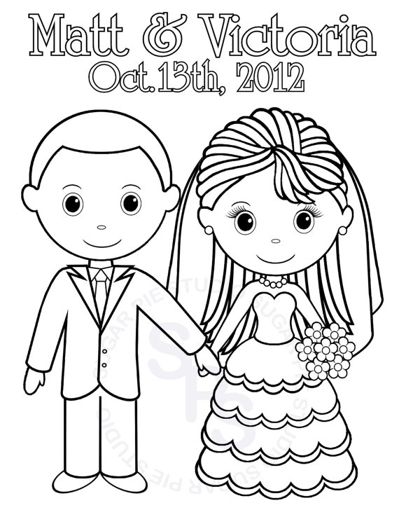 570x738 Printable Bride And Groom Coloring Pages