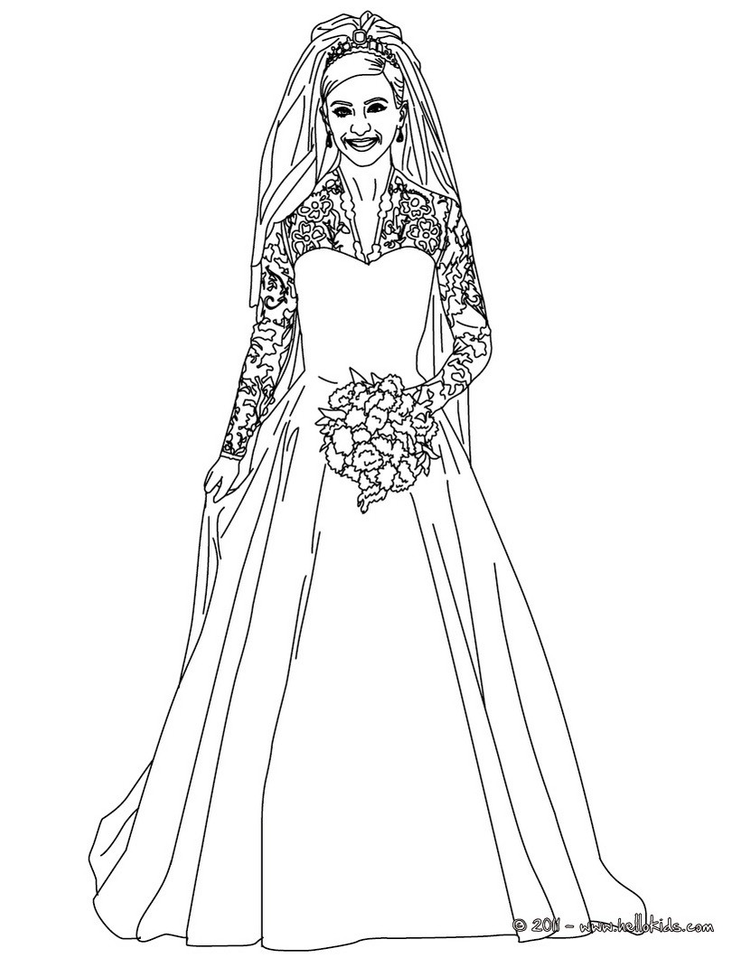 820x1060 Bride Kate Middleton Coloring Pages