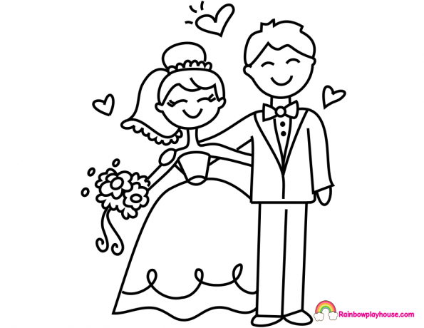 595x460 Little Bride And Groom Coloring Page