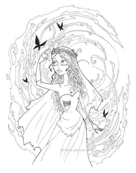 580x736 Bride Coloring Pages