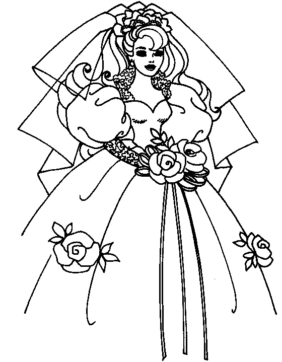 560x719 Coloring Page Of Bride Wedding Dress For Kids
