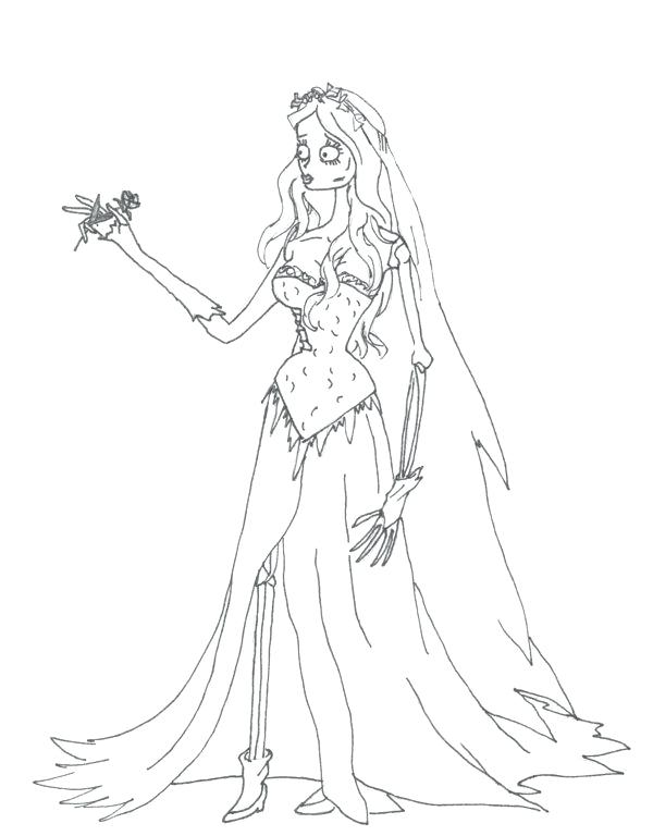 600x768 Bride Coloring Pages Corpse Bride Coloring Pages Free Indian