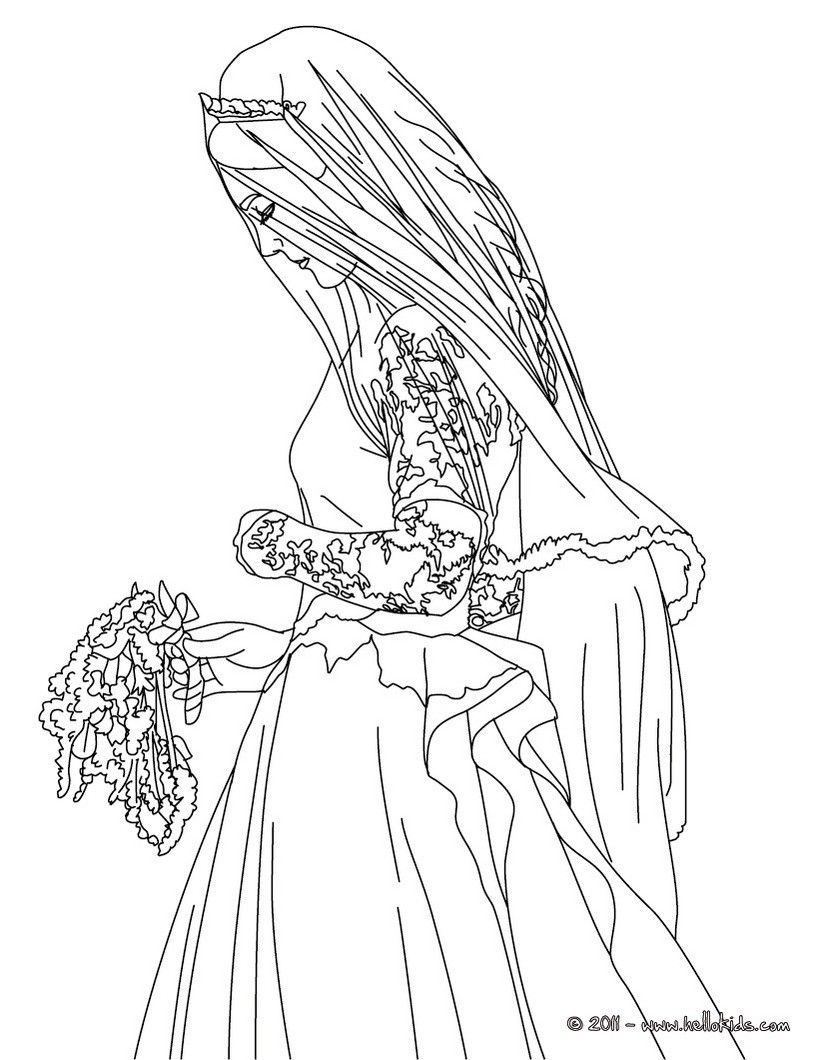 820x1060 Bride Kate Middleton Coloring Page More Kate And William Content