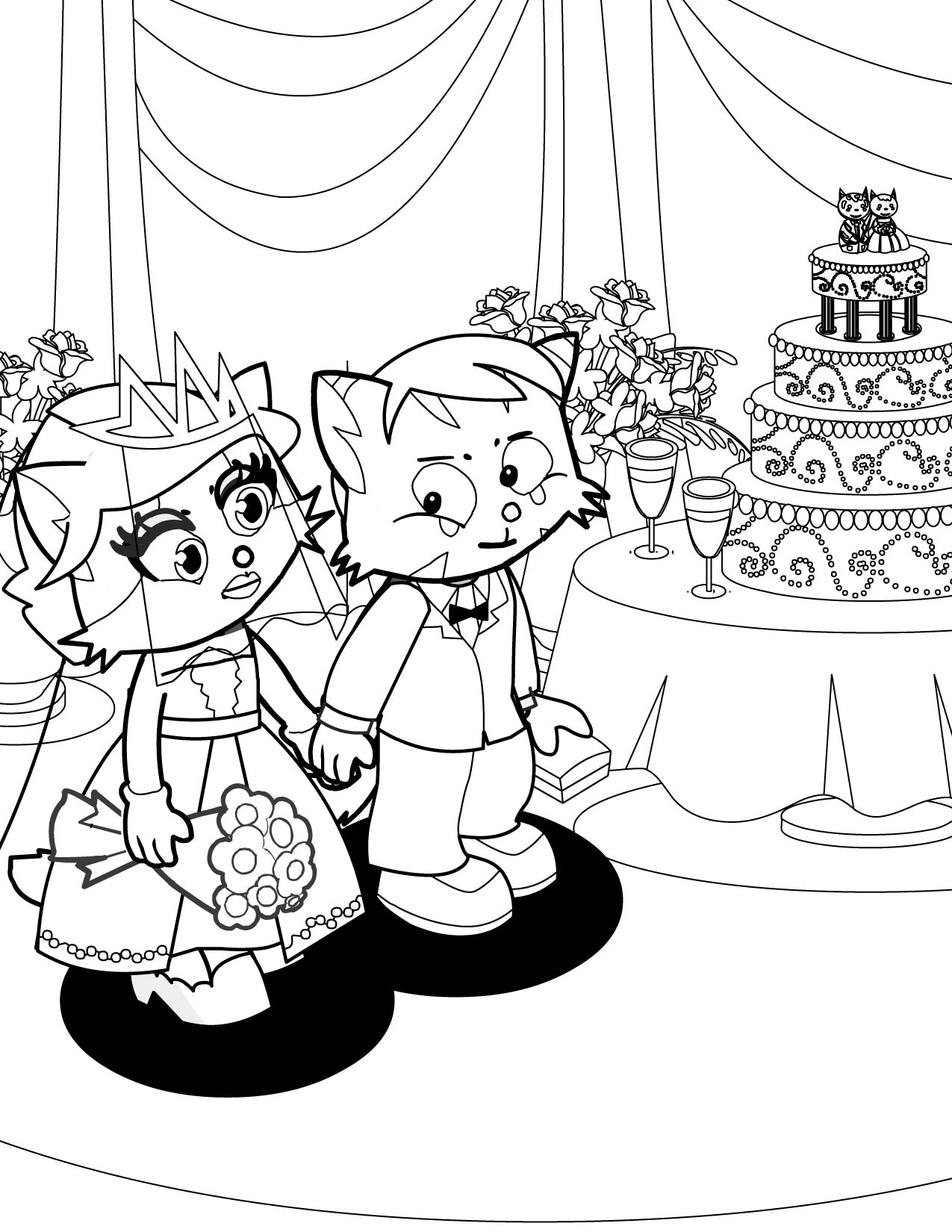 1275x1650 Bride And Groom Coloring Page