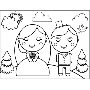 300x300 Bride And Groom Coloring Page