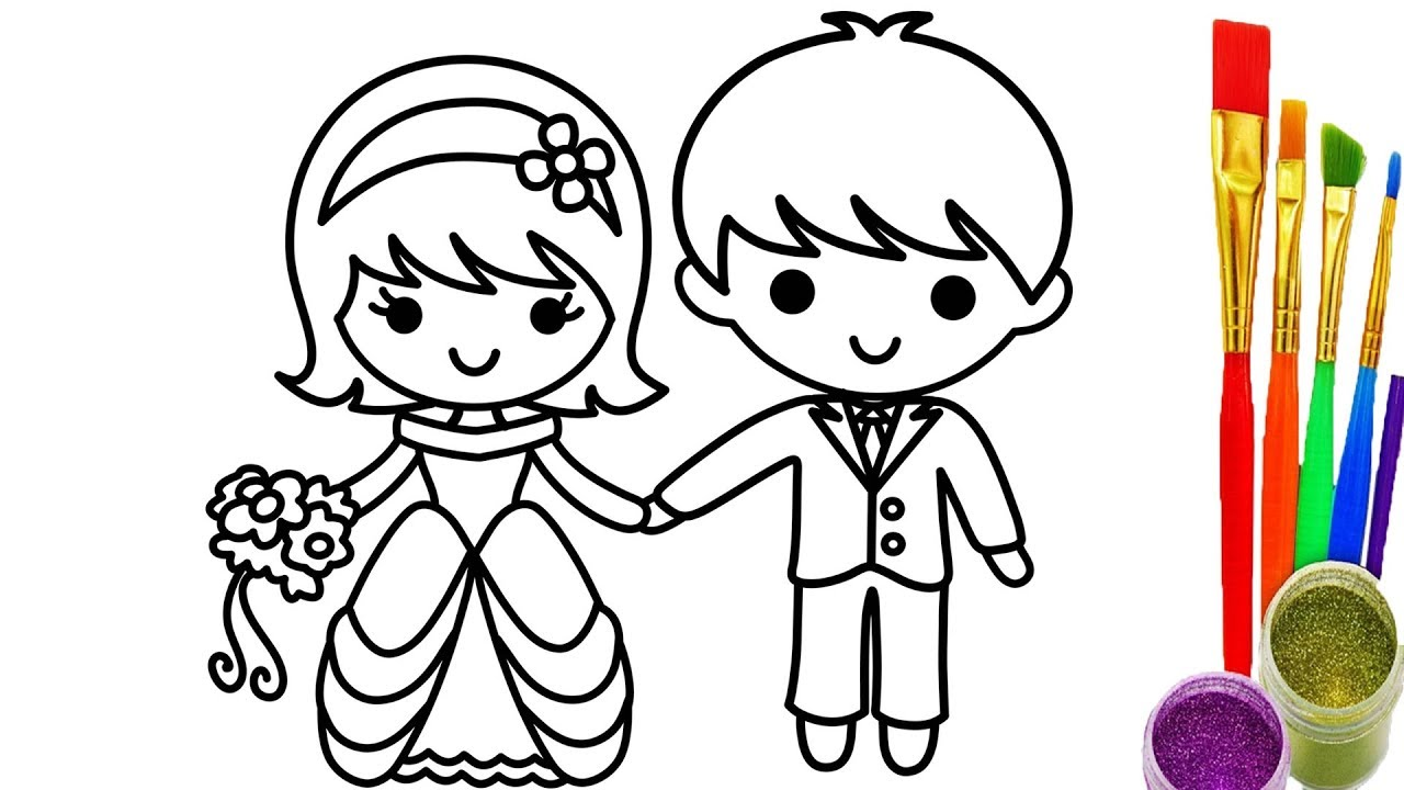1280x720 Bride And Groom Coloring Pages For Children Learning Colors