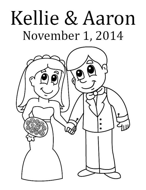 570x738 Bride And Groom Custom Coloring Page