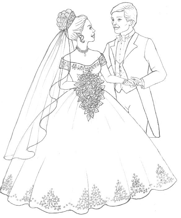 584x705 Coloring Pages Of Bride And Groom Coloring Pages