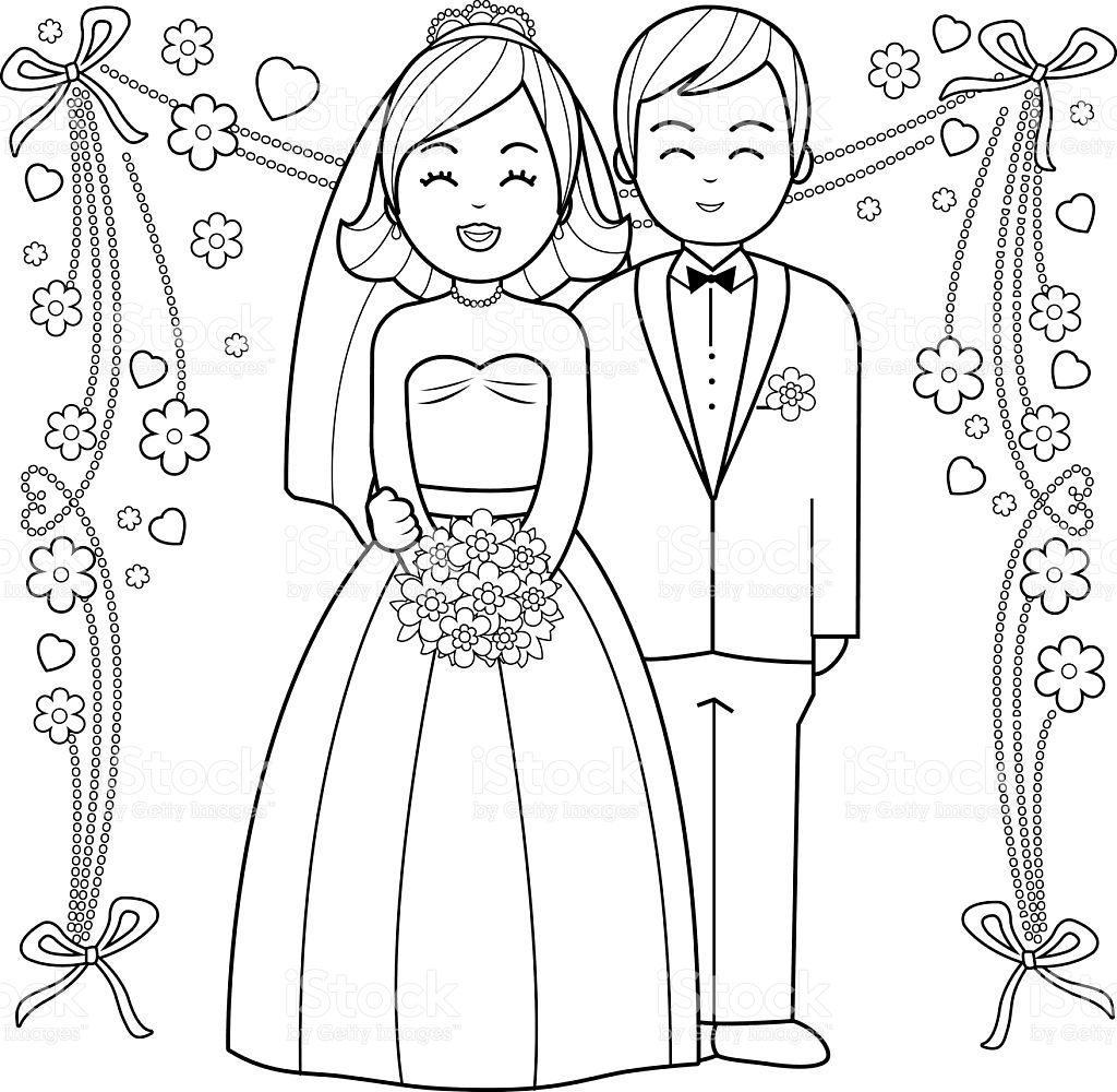 1024x1000 Kids Bride And Groomring Pages Free Printable Book Page Vector