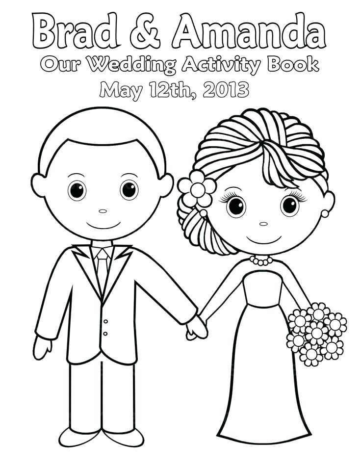 736x952 Wedding Coloring Pages For Kids Bride And Groom Colouring Sheets