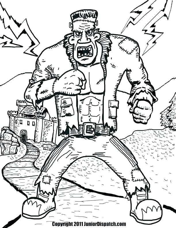 612x792 Frankenstein Coloring Pages Free Online Colouring Page Halloween
