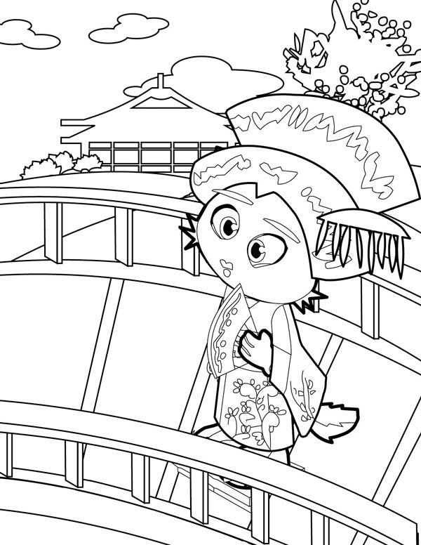 600x776 Geisha Cross The Bridge Coloring Page