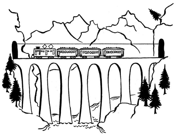 714x550 Tram On A Bridge Coloring Page Transportation Pages