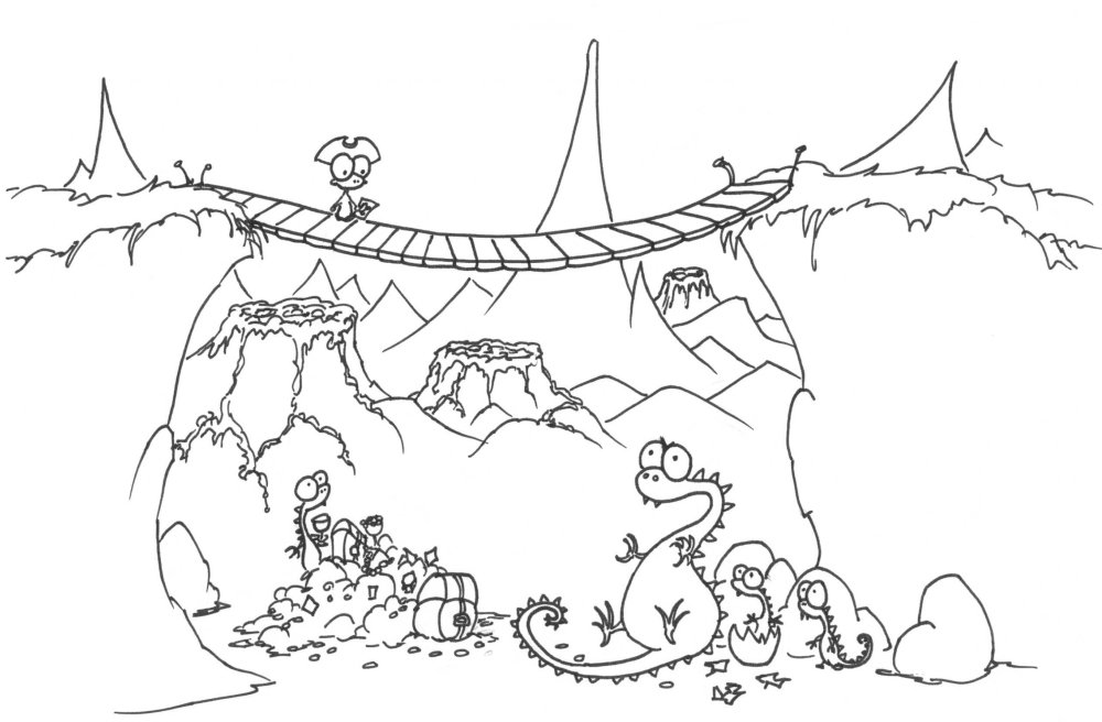 1000x656 Coloring Page A Monkey Pirate And Some Dragons